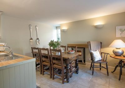 Dining area with a large farmhouse table